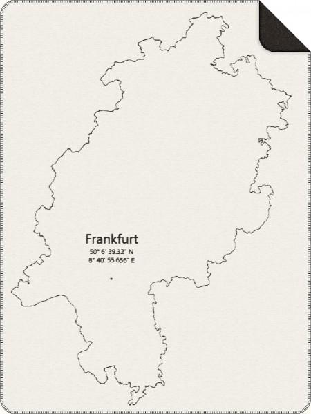 Staedtedecke mit den Koordinaten von Frankfurt