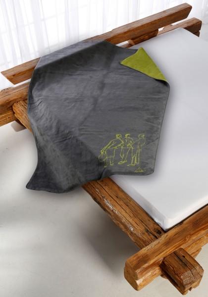 Drei Schwätzer Kolter gruen-grau auf dem Bett
