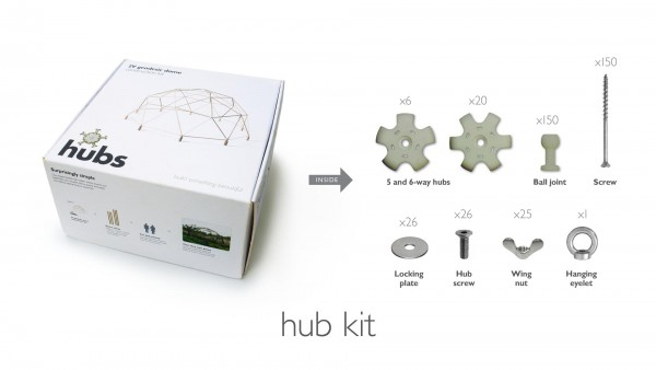 hubs geodesic dome kit Inhalt