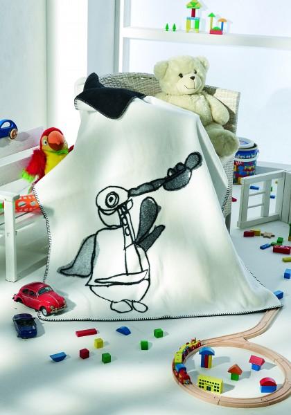 Kunst-Kolter Trompetenpinguin auf dem Bett liegend